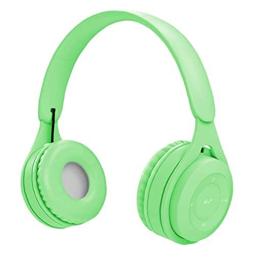 Auriculares inalámbricos, auriculares estéreo coloridos, de moda sobre auriculares para el oído, para deportes verde...