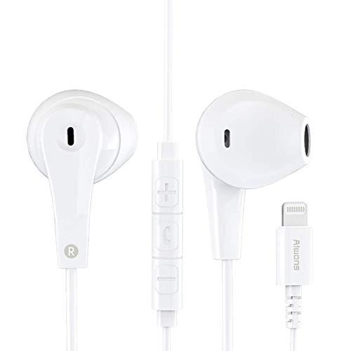 Auriculares para iPhone,Auriculares Conector Par emergente Auriculares Aislamiento Auriculares Soporte Control de...