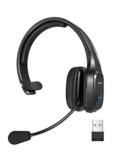 TECKNET Auriculares con Micrófonos PC,Auricular Bluetooth Cascos con Estación de Carga Cancelación de Ruido Sonido...