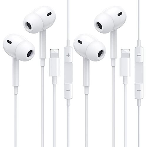 2 Pack Auriculares In Ear para iPhone,Auriculares Deportivos con Cable con Micrófono y Control de Volumen, Graves...