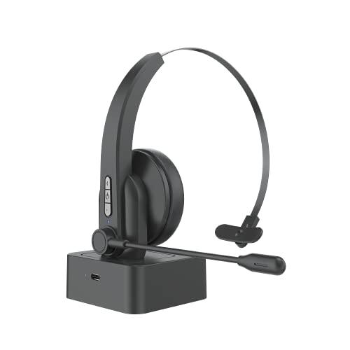 Bluetooth 5.0 Auriculares con Micrófonos, Auricular Bluetooth Cascos PC con Estación de Carga Cancelación de Ruido,...