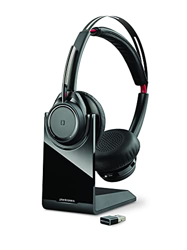 Plantronics Voyager Focus UC B825 - Auriculares estéreo Bluetooth con base de carga, USB A BT, sensores inteligentes,...
