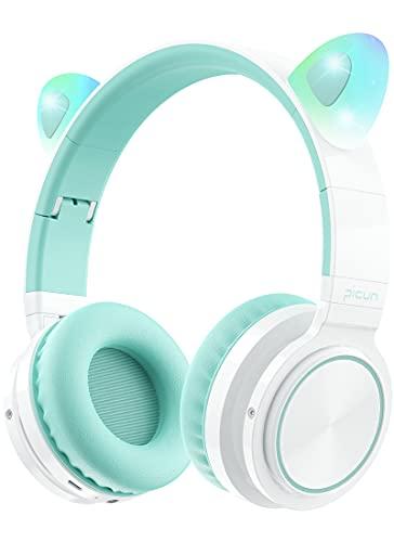 Picun Cat Ear Auriculares Bluetooth Inalámbricos Plegables sobre el Oído con Luz LED de Micrófono (Menta Verde)