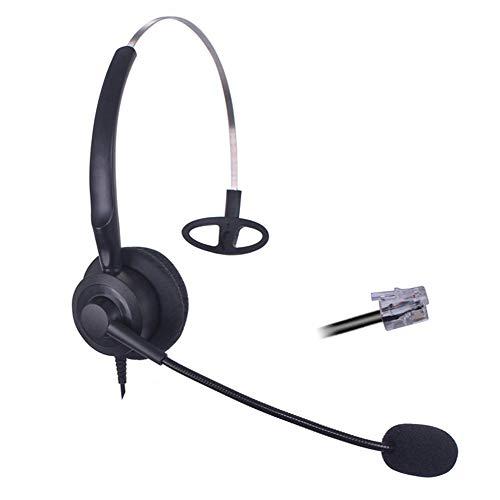 Bemma Auriculares Teléfono Fijo RJ9 Mono con Micrófono Cancelación de Ruido, Cascos Manos Libres para Centro de...