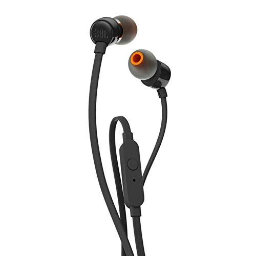 JBL T110 Auriculares In Ear con Pure Bass Con manejo de un solo botón y micrófono, color negro