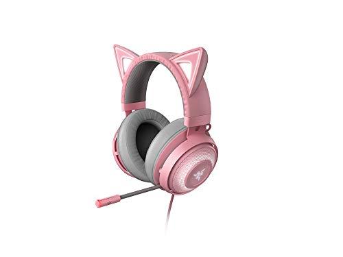 Razer Kraken Kitty - Auriculares para juegos, tipo oreja de gato con iluminación cromática RGB, micrófono con...