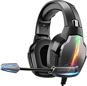 Cascos Gaming PS4, 4 Modos de Iluminación RGB y Orejeras Giratorias de 180°, Auriculares Estéreo Avanzados para...