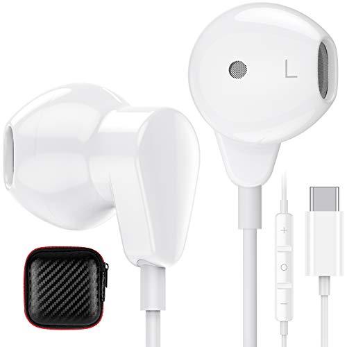 TITACUTE Auriculares USB tipo C con micrófono y control de volumen Hi-Fi, estéreo, para Samsung S21 Ultra S20 FE...