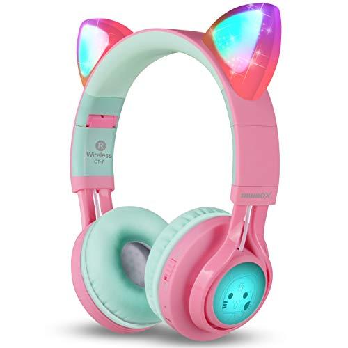 Riwbox CT-7 - Auriculares Bluetooth con orejas de gato, luz LED, inalámbricos, con micrófono y control de volumen,...
