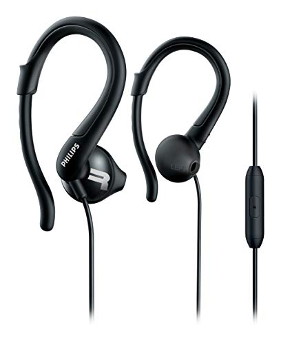 Philips SHQ1255TBK Auriculares para deporte con cable micrófono, gancho, 3 juegos de almohadillas, Negro