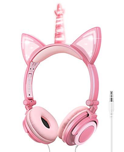Auriculares niñas, Auriculares Unicornio con Cable para niños,Auriculares con Orejas de Gato,Headphones Recargables...