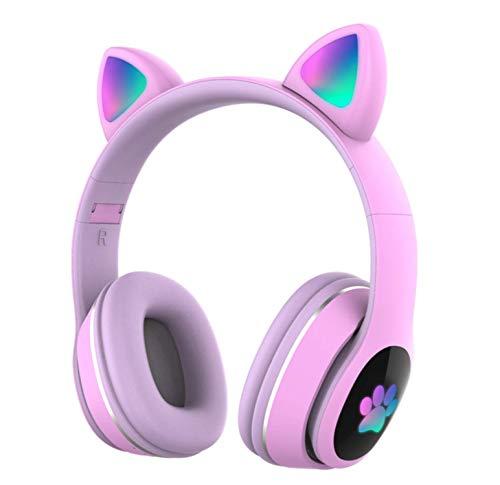 Auriculares Bluetooth para niños Auriculares inalámbricos de Oreja de Gato con luz LED Intermitente(Morado)