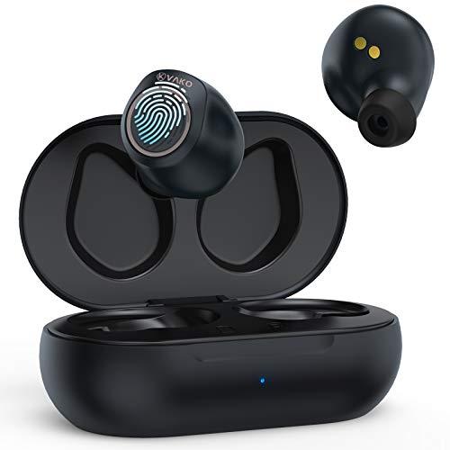 VaKo Auriculares Bluetooth, Auriculares Inalámbricos In-Ear, Hi-Fi Stereo con Funda de Carga, Touch Control, 16 Horas...