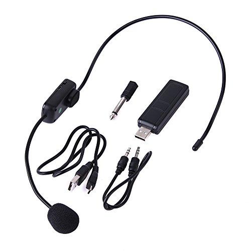 CUHAWUDBA Micrófonos Inalámbricos UHF Micrófono de Auriculares Inalámbrico de Etapa Micrófono de Sistema para...