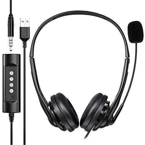 Newaner - Auriculares para Ordenador, con USB, de 3,5 mm, Sonido estéreo, Ligeros, para Negocios, con micrófono...