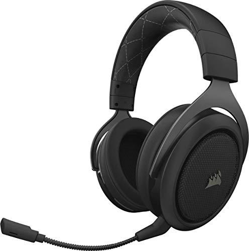 Corsair HS70 Wireless - Auriculares inalámbricos para juegos (sonido envolvente 7.1, con micrófono desmontable, para...