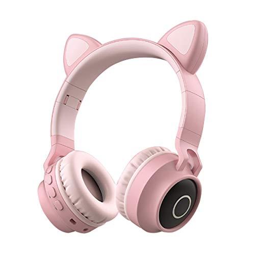 AQUYY Auriculares Inalámbricos Bluetooth Over Ear, Auriculares Estéreo Plegable con Orejas de Gato LED, Ranura para...