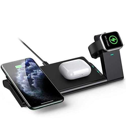 AGPTEK 3 En 1 Cargador Inalámbrico Rápido, Estación de Carga Rápida Qi Inalámbrica Soportes para iPhone SE 12...