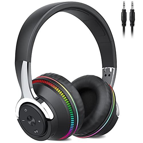 Auriculares Inalámbricos Bluetooth, 60Hrs Cascos Inalambricos Diadema Plegables HiFi Cerrados Auriculares con...