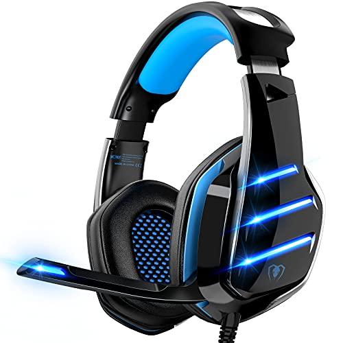 Auriculares para Videojuegos para PS4, PS5, PC, Xbox One, PS4, Auriculares con micrófono, Sonido Envolvente, Graves y...