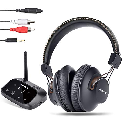 Avantree HT5009 Largo Alcance 40 Horas Auriculares Inalámbricos para TV con Transmisor Bluetooth (Óptico, RCA, AUX),...