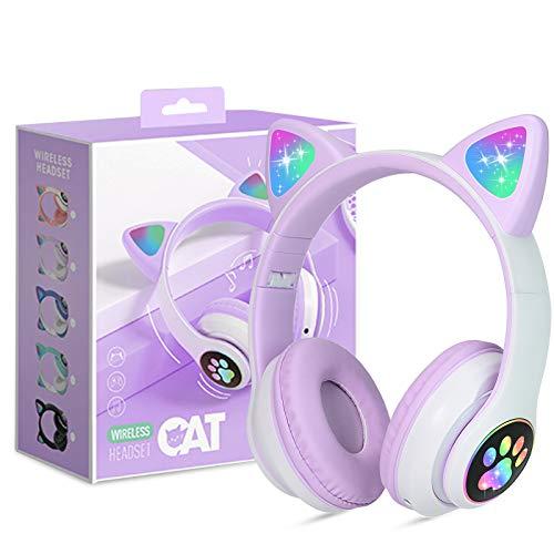 Auriculares para Niños Inalámbricos con Luz LED, Auriculares de Diademacon Orejas de Gato para Niñas, Bluetooth...