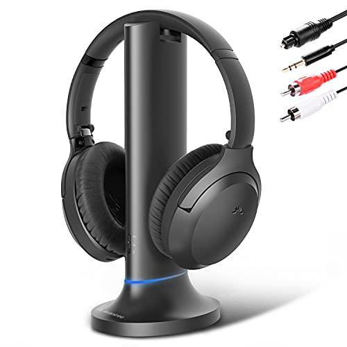 Avantree Opera Bluetooth 5.0 Auriculares Cascos Inalámbricos TV con Base Carga del Transmisor, Largo Alcance, Control...