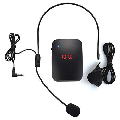 Kasachoy - Transmisor inalámbrico de FM con micrófono de diadema con clip para micrófono manos libres kit de...