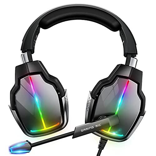 Cascos Gaming PS4, Giratorio de 90° y 4 Modos de Iluminación RGB Auriculares Gaming, Transductores 50mm, Micrófono...