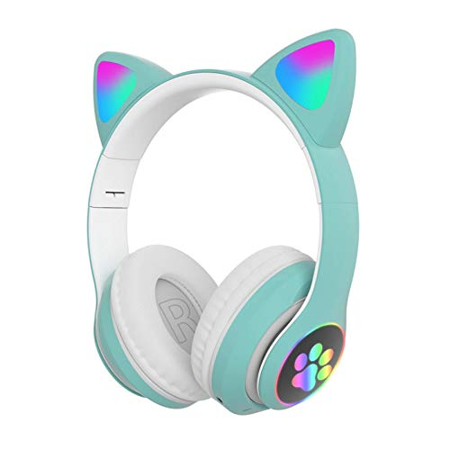 Happymore Auriculares con orejas de gato, con luces LED, inalámbricos, Bluetooth 5.0, para PC, tablet, radio FM,...