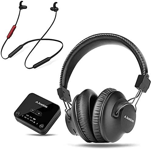 Avantree D4169 Auriculares Bluetooth 5.0 Inalámbricos sobre Oreja e internos para Ver TV con transmisor Baja...