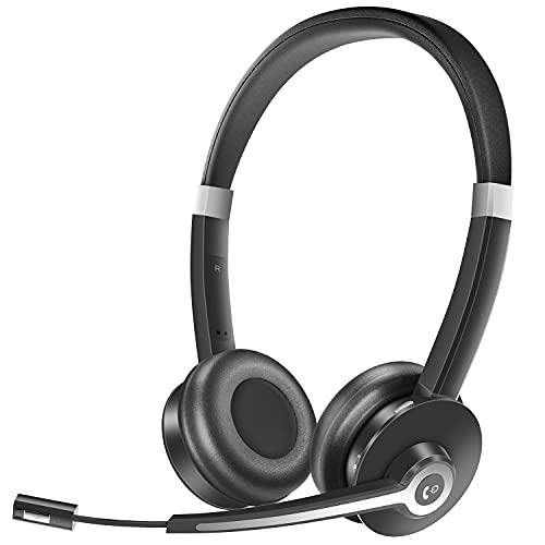 YUWAKAYI Auriculares Bluetooth con Micrófono, V5.0, Mic Mute, Auriculares Inalámbricos con Micrófono para Ordenador...