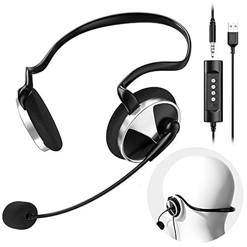 Newaner Auriculares PC con Cable y Micrófono, Auriculares Diadema Telefono USB/3.5mm, Cascos Diadema con Cancelación...