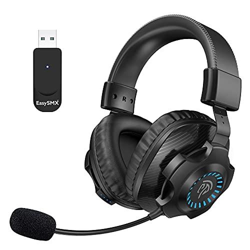 7.1 Auriculares Gaming Inalámbricos PS5 PS4, [Regalos] EasySMX 2.4G Cascos Gaming Inalámbrico 7.1 Sonido Estéreo con...