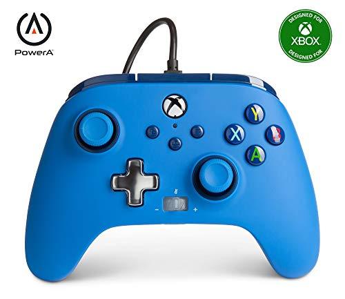 - Mando con cable mejorado PowerA para Xbox: en azul, mando, mando para videojuegos con cable, mando de juego, Xbox...