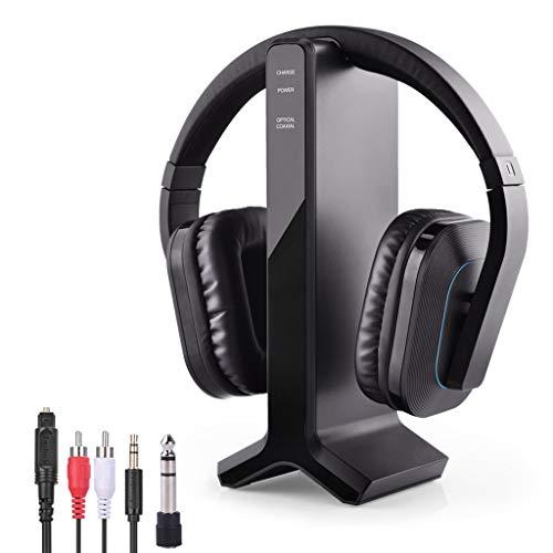 Avantree HT280 Auriculares Inalámbricos Diadema para Ver TV con 2.4G RF Base de Carga del Transmisor, Cascos de Alto...