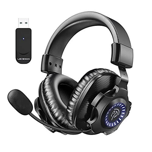 LEVEWAN V07W Auriculares Gaming Inalambricos PS4, PS5, 2.4G Cascos Gaming Inalambricos 7.1 Sonidos Estéreo con 7.1...