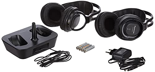 Panasonic RP-WF830WE-K Auriculares Dobles Inalámbricos Diadema (Adecuado para Personas Mayores, Hi-Fi Sonido, Base...