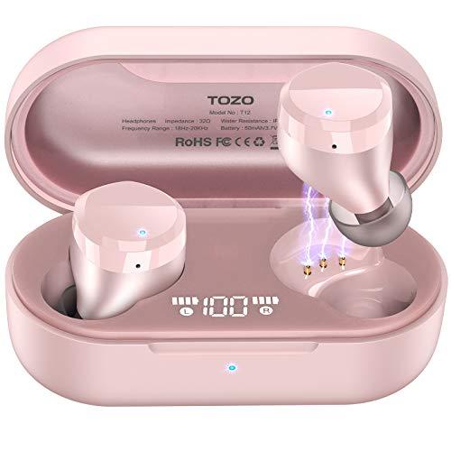 TOZO T12 Auriculares Bluetooth con Control táctil y Estuche de Carga inalámbrica Pantalla LED de Inteligencia Digital...