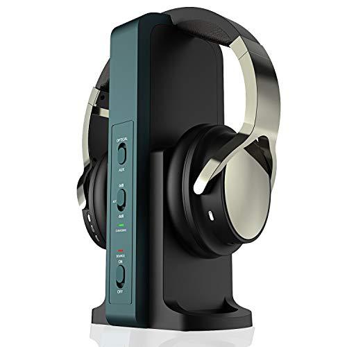 Auriculares inalámbricos para TV, con estación de carga digital de 2,4 GHz, para televisores HiFi DVD, transmisor con...