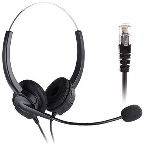 Auriculares Teléfono Fijo, PChero Binaural Auricular con 4-Pin RJ9 Jefe de Cristal y Mic Cancelación de Ruido, para...