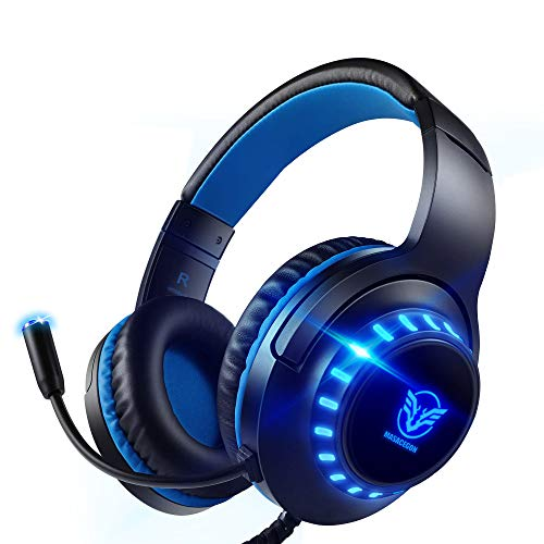 Pacrate Auriculares Gaming PS4, Auriculares con Micrófono PC, Auriculares Gamer con Cable para Xbox One Nintendo Switch...