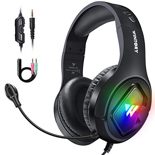 Cascos Gaming, Auriculares Gaming PS4 PC con Microfono Diadema con RGB Luz LED y Cancelació de Ruido, Cascos Gamer...