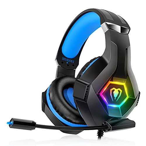 decoche Auriculares para PS4, PS5, PC, Xbox One, PS4, Auriculares con micrófono, Sonido Envolvente 3D, cancelación de...