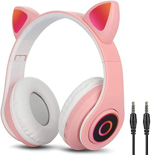 Auriculares Inalámbricos Bluetooth con Luz Cascos Diadema con Oreja de Gato Auriculares Plegable Cancelación de Ruido...