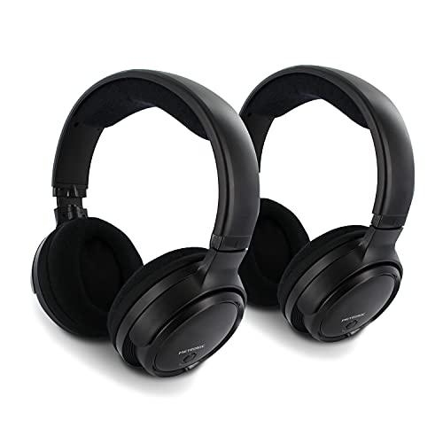 Metronic 480182 - Auriculares Dobles inalambricos Diadema para TV, Sonido estéreo Hi-Fi, UHF 3 Canales, Base...