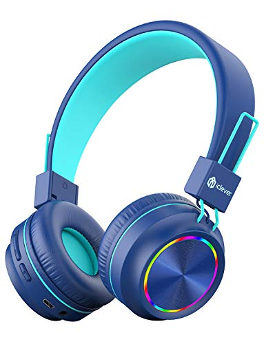 iClever Bluetooth Auriculares para niños, Auriculares con Luces de Colores para niños con micrófono y Control de...