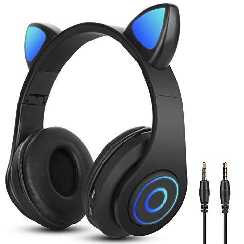 Auriculares Bluetooth Diadema con Oreja de Gato Sendowtek Cascos Inalámbricos con luz RGB Cascos Gaming con 3.5mm Cable...