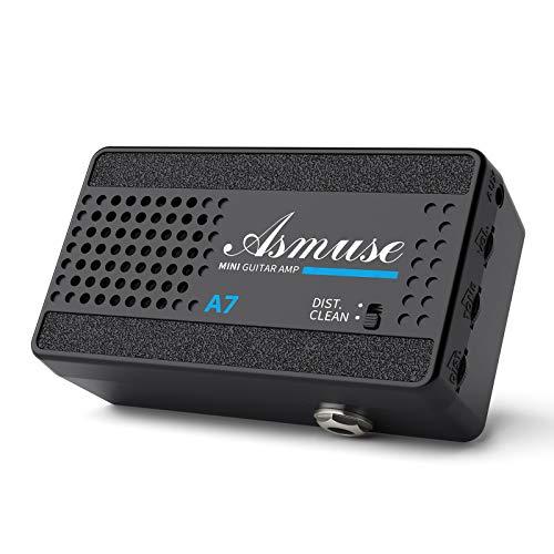 Asmuse Mini Amplificador de Guitarra Eléctrica Altavoz Portátil de 3W para Bajo, Amp Combo de 2 Canales Limpio y...