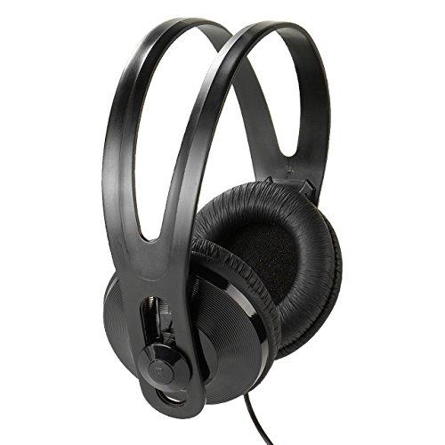 Vivanco SR 96 TV - Auriculares de diadema cerrados (control remoto integrado, 150 dB, cable de 5 metros), Negro